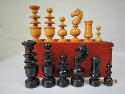 ANTIQUE FRENCH CHESS SET TOURNAMENT SIZE K 91 mm AND  ORG  BOX  NO BOARD