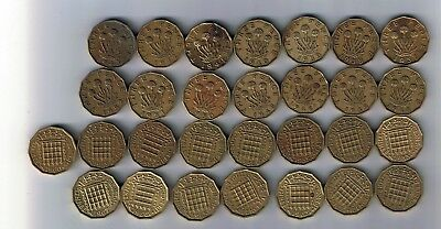 29 different Brass Threepence coins issued 1937 - 1946, 1948, 1950 - 1967
