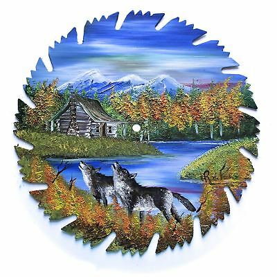 Hand Painted Saw Blade Art Mountain Log Cabin Fall Wolves 9 1/4 Inch