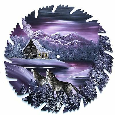 Hand Painted Saw Blade Art Mountain Log Cabin Mauve Winter Wolves 9 1/4 Inch