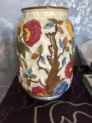 Vintage Hand Painted Ceramic Indian Tree Vase H J Wood Made In England