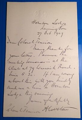 Sir Harry Verney [1801-1894] - original autograph letter from Clayson House