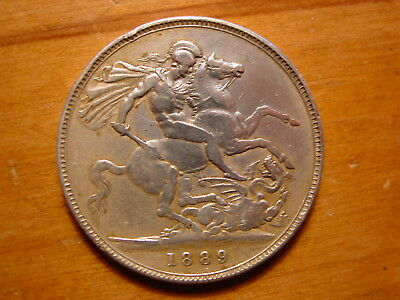 Lovely British Solid Silver Crown Coin  Queen Victoria 1889