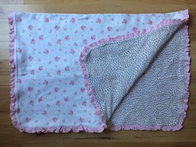 Carter's White Pink Floral Baby Blanket Animal Leopard Print Ruffle Knit Cotton