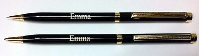 Personalised laser engraved Ball Point pen and pencil set