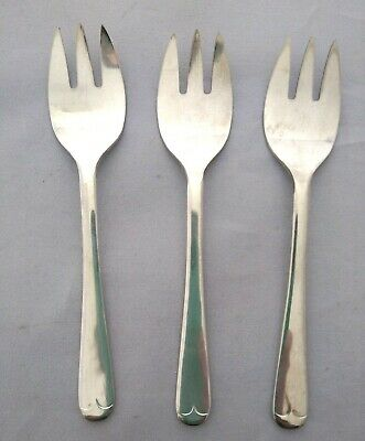 Set of 3 Silver Plated Sheffield England Ice Cream Forks