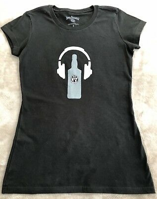 "5d189e2b ""JACK DANIEL'S"" Old No 7 Flattering Women's T-shirt with Headphones ~ size"