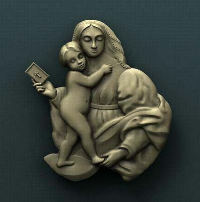 """3D STL Model Relief for CNC Router Aspire Artcam - """"Baby Jesus and Mary"""""""
