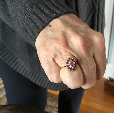 Vintage 14K Gold Pink Sapphire & Diamond Chip Cluster Cocktail Ring Size 6.75
