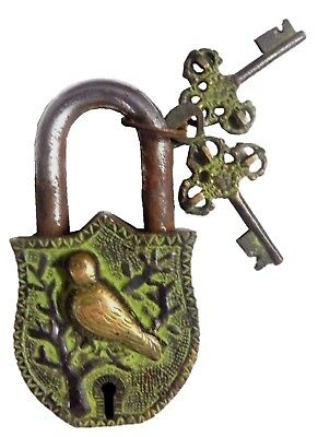 Bird Shape Lock Vintage Antique Style Handmade Brass Padlock with working keys