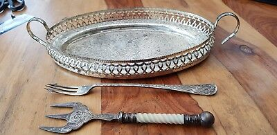 Vintage silver plated tray and Silver plated forks
