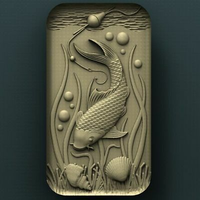 "3D STL Model Relief for CNC Router Aspire Artcam - ""The Salmon under Water"""