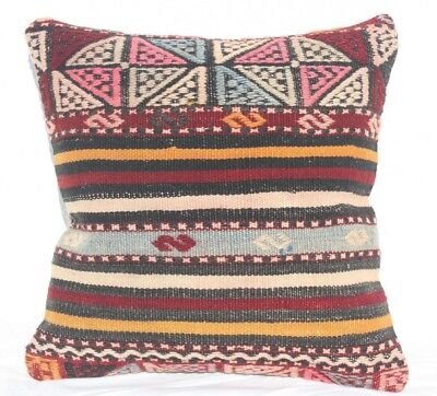 Turkish Kilim Pillow 16x16, Kilim Rug Cushion Cove 16x16, Striped, Black, Pink