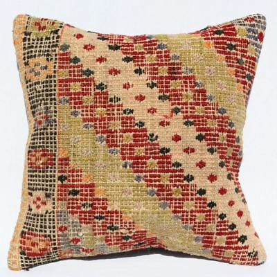 Turkish Kilim Pillow 16x16, Kilim Rug Cushion Cover 16x16