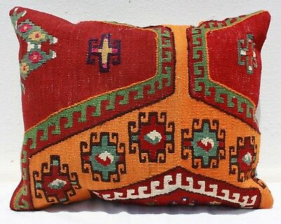 "TURKISH KILIM RUG LUMBAR PILLOW CUSHION COVER HAND WOVEN WOOL 19"" x 16"""