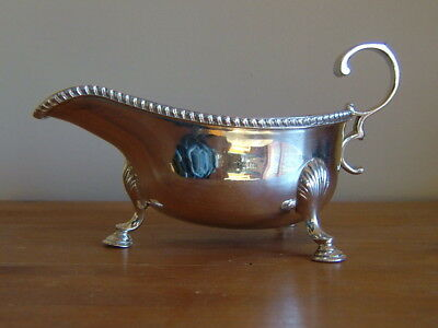 GOOD ENGLISH STERLING SILVER SAUCE BOAT or GRAVY BOAT, HALLMARKED LONDON