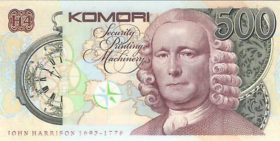 Test note KOMORI CURRENCY  Orlof offset + Intaglio + varnish Sicpa protection