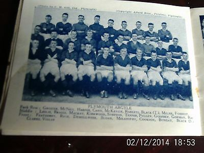 Plymouth argyle & oldham athletic team groups b+w with line-ups 9cm by 6 cm 1934