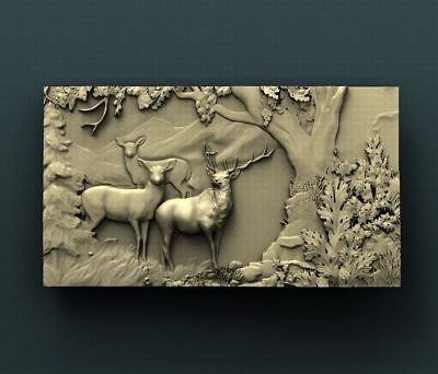 """3D STL Model Relief for CNC Router Aspire Artcam - """"Deers Pack Watching"""""""