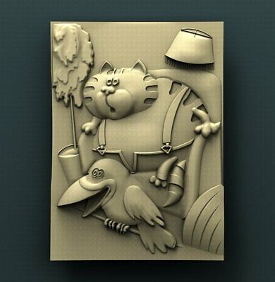 """3D STL Model for CNC Router Aspire Artcam - """"The Cat and the Crow Animated"""""""