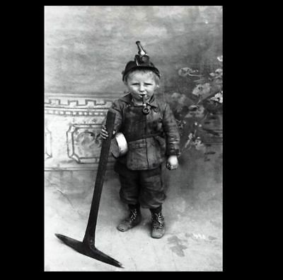 Vintage Boy Child Smoking PHOTO Creepy Weird Cigarette Pipe, Coal Miner Scary