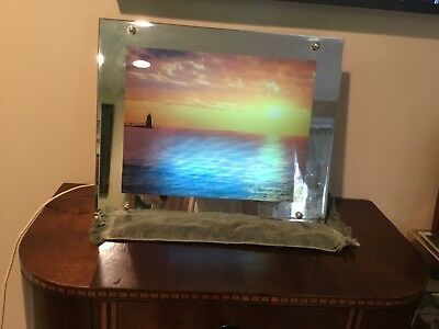 Vintage Lighted Moving Ocean Picture Lamp Light with Water and Bird Sounds!!