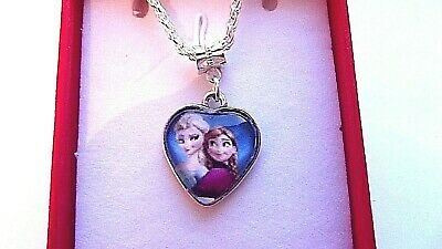 FROZEN  ELSA AND ANNA BUBBLE HEART 16 INCH NECKLACE 2 to 4 y GIFT BOX,BIRTHDAY