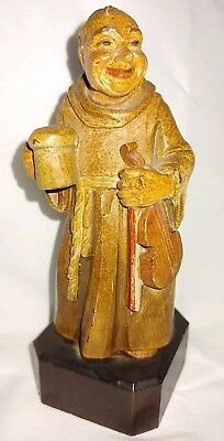 """VTG ANRI ITALY Hand Carved Wood Friar w/ violin and cup 5.25 """"  MONK FIGURE"""