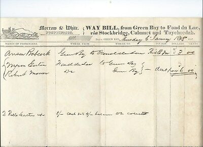 1848 Stagecoach Waybill - Green Bay, Wisconsin to Fond du Lac, Wisconsin