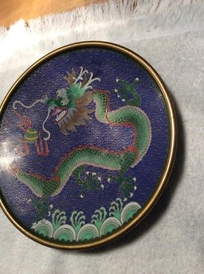 """Antique Vintage Dragon Chasing Flaming Pearl Cloissonne Plate Dish 8"""""""