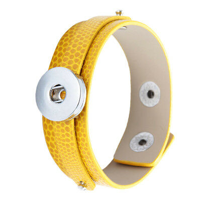 Yellow Leather Snap Charm Bracelet Snaps Jewelry Fit 18mm Snap Button Bangle