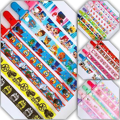 Baby Boys Girls Themed Dummy Soother Clip Strap Pacifier Cartoon Glitter