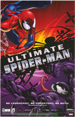 ULTIMATE SPIDER-MAN POSTER 11x17 Rare Wild Posting GAME Promo + Spiderman 3 Mini
