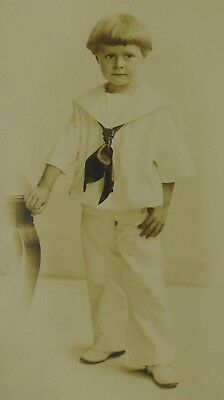 Dapper Dan in White, Sailor Looking Outfit Lad Real Photo Postcard RPPC PC-109