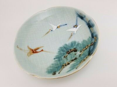 ANTIQUE JAPANESE HAND PAINTED PORCELAIN CRANE PLATE Gold Accents Stamped