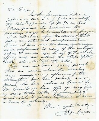 1844 Letter By The Eye Witness To The  'expulsion Of Samuel Hoar'  In S.carolina