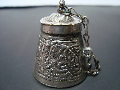 Antique Persian Turkish Islamic Handmade Silver Alloy Snuff or Kohl Container