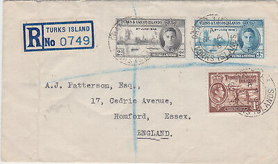 1946 Turks & Caicos Islands WWII Victory Stamps Registered First day Cover