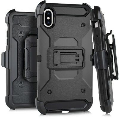 """For iPhone XR (6.1"""") - HARD HYBRID ARMOR CASE COVER BLACK HOLSTER with BELT CLIP"""