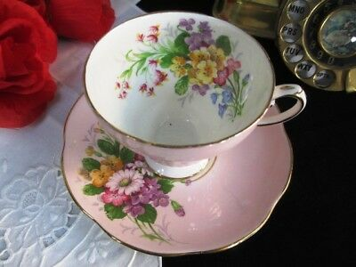 Vintage EB Foley England Fancy Pink Large Floral Bouquets Cup and Saucer