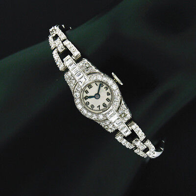Antique Art Déco Platine & 18k or Blanc 2.60ctw Diamant Habillés Dames Montre