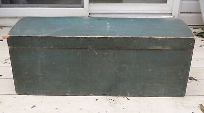 Antique American Domed Wooden Dowry Box Trunk Original Paint DOVETAILED 1800's