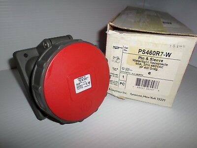 *NEW IN BOX*  P&S 460R7W 60-Amp PIN&SLEEVE RECEPTACLE HBL460R7W 60A 480V 3W 4P