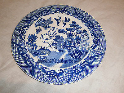 Vintage Japanese Willow Blue & White Large Plate - 25.5 Cms Across