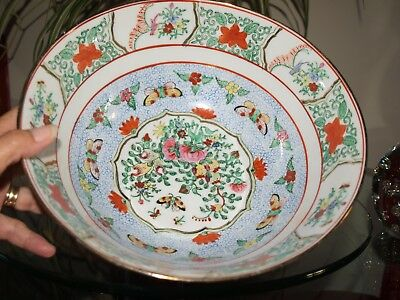 Chinese Famille Rose LARGE porcelain bowl Dragonflies Butterflies Birds & Roses