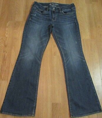 Womens 12 AMERICAN EAGLE Kick Boot Stretch Blue Jeans Pants Distressed