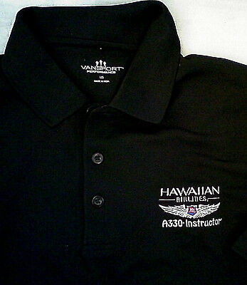 Hawaiian Airlines A330 Instructor Polo Shirt Black L pilot airbus
