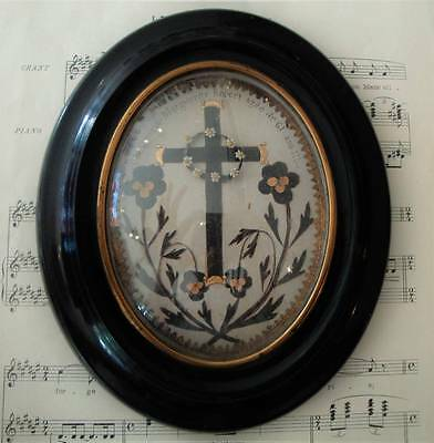 Antique French Mourning Hair Art Domed Glass Oval Wooden Frame c.1880