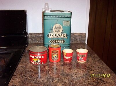 Vintage  5Lb Louvain Coffee Tin (Sears,roebuck&co.) + Folger's Items