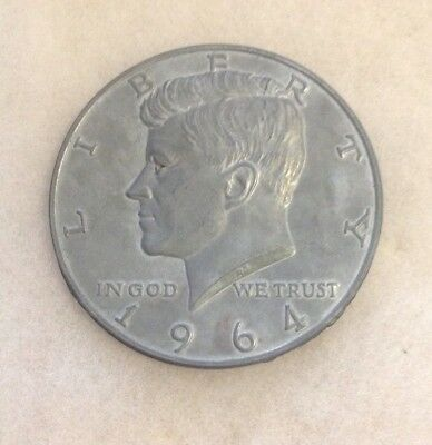 """Large 1964 Kennedy Half Dollar Novelty Paperweight 3"""""""